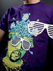 Picture of purple T-shirt with graphic print