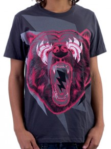 Picture of slate T-shirt with pink bear illustration