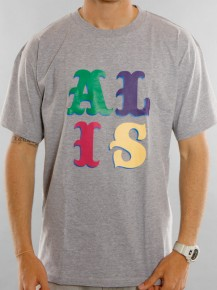 Picture of grey T-shirt with the ALIS circus logo