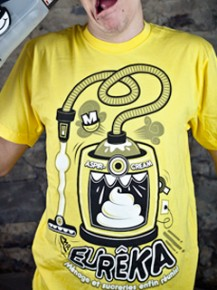 Picture of yellow T-shirt with graphic print