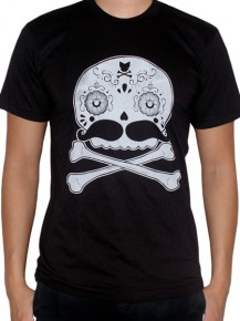Picture of black T-shirt with stylized skull