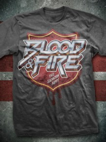 Picture of grey T-shirt with the text: Blood & Fire
