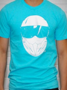 Picture of light blue T-shirt with graphic print