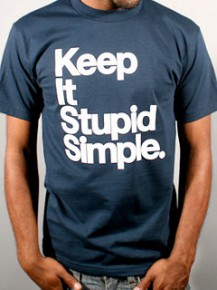 Picture of navy T-shirt with the text: Keep it stupid simple